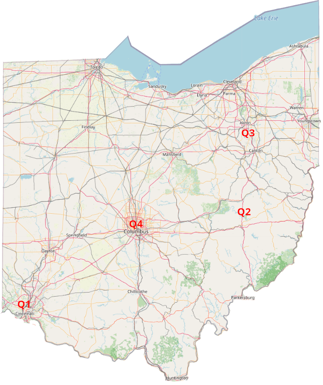 Map of Typical Meeting Locations